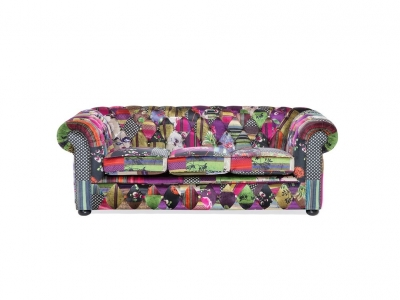 Soffa L patchwork violett CHESTERFIELD